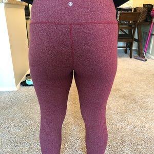 RARE EUC Herringbone Red/Pink leggings